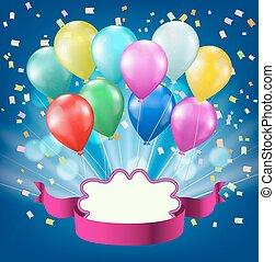 Farbige Ballons, Konfetti, Lichtstoß, Band und Rahmen Hintergrund. Celebration Vektor Design Vorlage