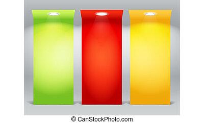 Farbige beleuchtete Bretter