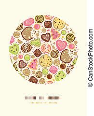 Farbige Cookies kreisen den Hintergrund.