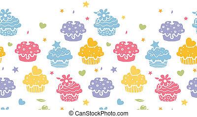 Farbige Cupcake-Party horizontal nahtloser Hintergrund