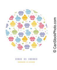 Farbige Cupcake-Party-Kreis-Dekorations-Hintergrund