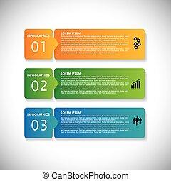 Farbige Etiketten mit Schrittfolge - Vektorinfographische Banner. Diese einfache Grafik kann in Marketingmaterialien, Websites & Webdesigns, Geschäftspräsentationen, Werbung usw. verwendet werden
