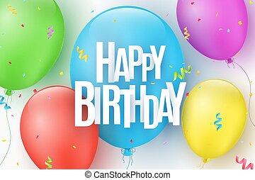 Farbige festliche Ballons auf einem hellen Hintergrund. Die Inschrift mit einem Happy Birthday aus Papierbriefen. Ein Burst von Konfetti. Grußkarte. Vector Illustration