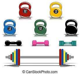Farbige Fitnessgeräte.