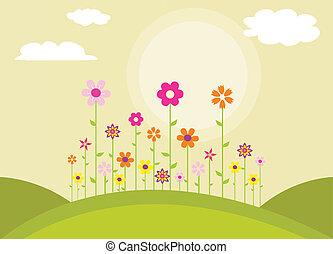 Farbige Frühlingsblumen.