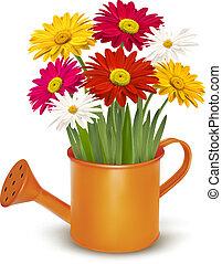 Farbige frische Frühlingsblumen in Orangenwasserdose. Vektor Illustration