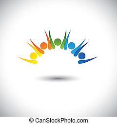 Farbige glückliche, aufgeregte Menschen haben Spaß - Konzeptvektor