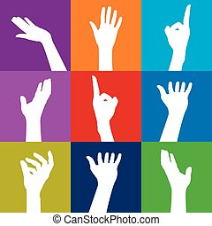 Farbige Hände.