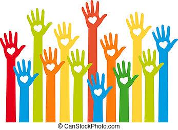 Farbige Hände mit Herz, Vektor.