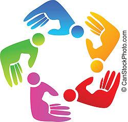 Farbige Hände, Teamwork Logo.