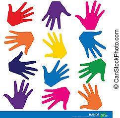 Farbige Hände. Vektor Illustration.