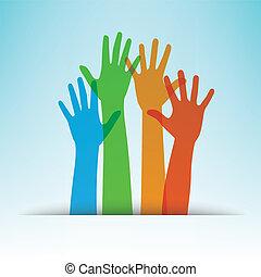 Farbige Hände, Vektorgrafik.
