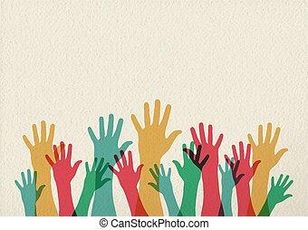 Farbige Hand Illustration Teamwork Konzept