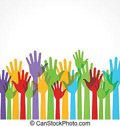 Farbige Hand zur Unterstützung