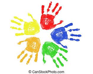 Farbige Handabdrücke