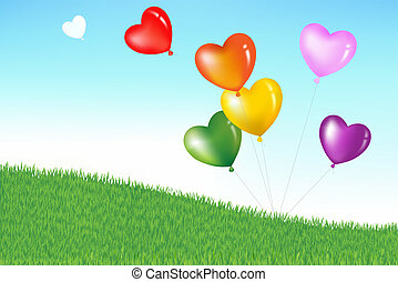 Farbige Herzformballons