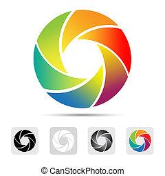 Farbige Kameraverschluss-Logo, Illustration.