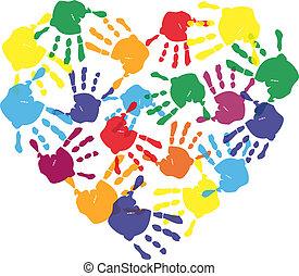 Farbige Kinderhandabdrücke in Herzform
