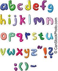 Farbige kleine Buchstaben, geschrieben