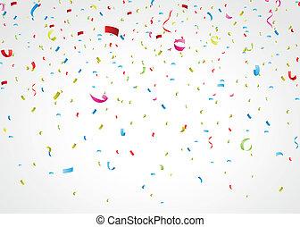 Farbige Konfetti auf Weiß.