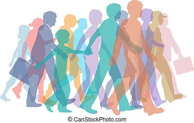 Farbige Menschenmengen gehen