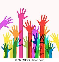 Farbige menschliche Hände. Vector.