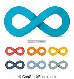 Farbige Papiervektor-Infinity-Symbole, isoliert auf weißem Hintergrund.