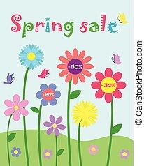 Farbige, süße, würzige Blüten und Schmetterlingsset, Frühlingsverkauf und Prozent Rabatt Werbevektor Vorlage Hintergrund.