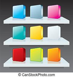 Farbige Schatullen auf Regalen. Vektorschema