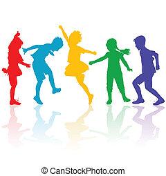 Farbige Silhouette von glücklichen Kindern