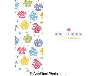 Farbige Törtchenparty horizontaler, nahtloser Hintergrund.