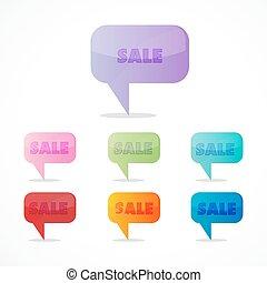 Farbige Verkaufs-Ikonen