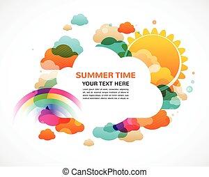 Farbige Wolken, Regenbogen und Sonne, abstrakter Vektor Hintergrund