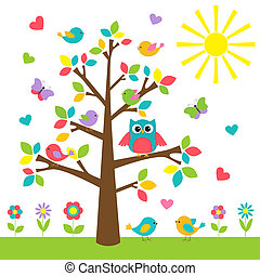 Farbiger Baum mit süßer Eule und Vögeln.