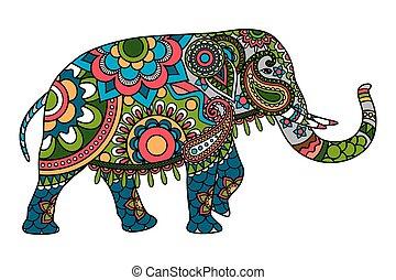Farbiger Doodle-Elefant