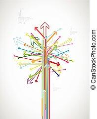 Farbiger Pfeilbaum mit Platz für Ihren Text.