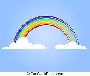 Farbiger Regenbogen mit Wolke, Vektorgrafik.
