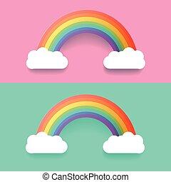 Farbiger Regenbogen mit Wolken. Vector Illustration eingestellt