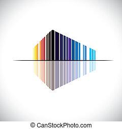 Farbiges abstraktes Icon einer kommerziellen Gebäudearchitektur - Vektorgrafik. Diese Abbildung einer modernen Bürostruktur ist in Farben wie rot, orange, schwarz, blau, etc