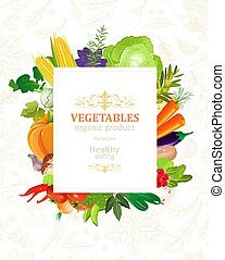 Farbiges Banner mit Gemüserahmen für Ihr Design.