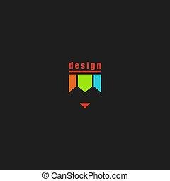 Farbiges Bleistift-Logo, Schein-Design-Kunstschule Emblem.