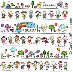 Farbiges Muster mit Kindern und süßen Naturelementen.