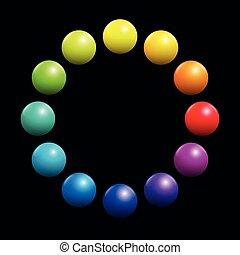 Farbspektrum rund Regenbogenfarbene Kugeln schwarz