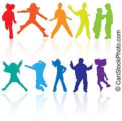 Farbtänze, Springen und Posieren von Teenagern, Vektor-Silhouette mit Reflexion.