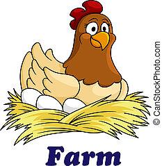 Farm Emblem mit einer Henne auf Eiern.