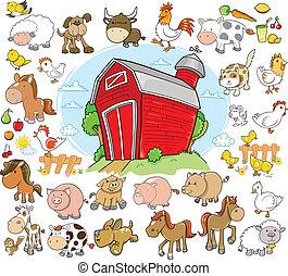 Farmtiere Designvektorset