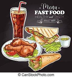Fast Food Menü auf einer schwarzen Tafel