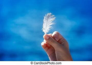 Feather in der Hand