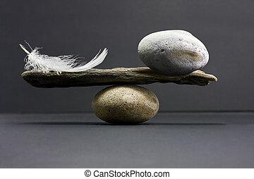 feder, gleichgewicht, stein