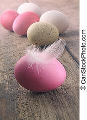 feder, ostern, holztisch, eier